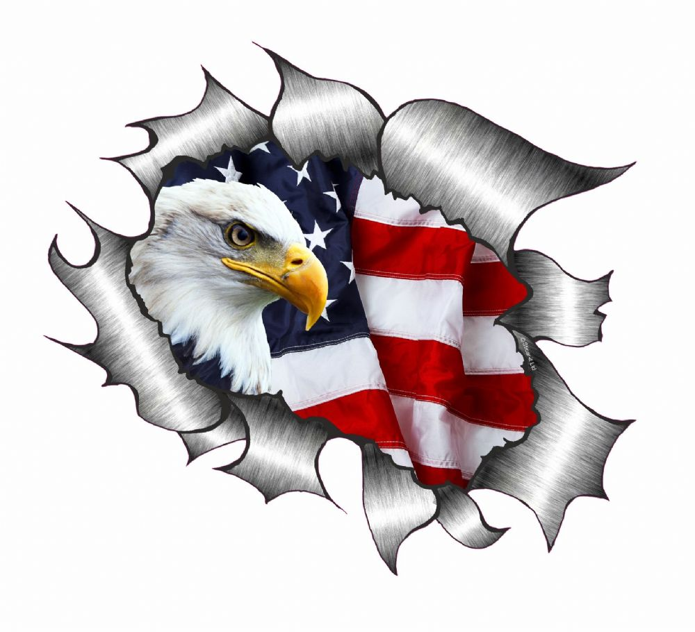 A4 Size Ripped Torn Metal Design With American Bald Eagle